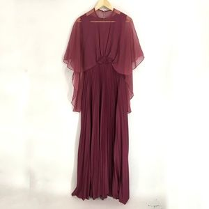 Vintage Cranberry Pleated Maxi Formal Dress